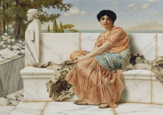 Godward, John William: Reverie (In the Days of Sappho). Fine Art Print/Poster. Sizes: A4/A3/A2/A1 (004050)